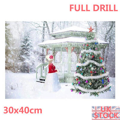 Full Drill Xmas Landscape 5D Diamond Painting Snowman Tree Embroidery Nice Kit