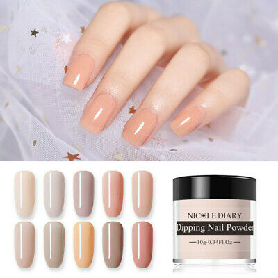 NICOLE DIARY 10g Dipping Nail Powder Nude Color Nail Art Decor Quick Dry No Cure