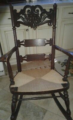 Vintage Wood NorthWind Face Rocking Chair