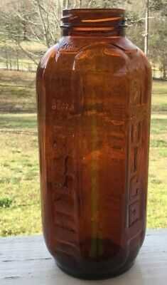 Vintage Brown Amber Glass Bottle 40oz Embossed with Water Juice