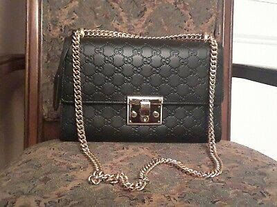 b8c0f10c917651 BLACK LEATHER GUCCI Padlock Signature Bag Medium Handbag Purse ...