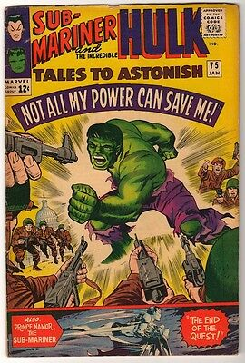 Marvel TALES TO ASTONISH 75  HULK SUB MARINER AVENGERS VG+