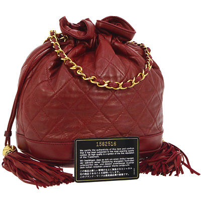 f8e086a09b4c Auth CHANEL Quilted Fringe CC Drawstring Chain Shoulder Bag Red Leather  NR11336