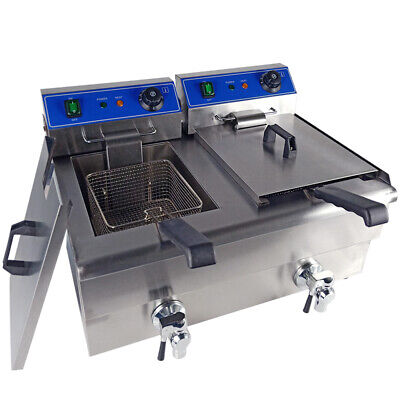 2*10L Commercial Electric Deep Fryers Stainless Steel Twin Tank Fat Chip Fryer