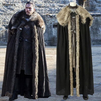 Mens Jon Snow Costume Game of Thrones Cosplay Fancy Dress Halloween Outfit S-3XL