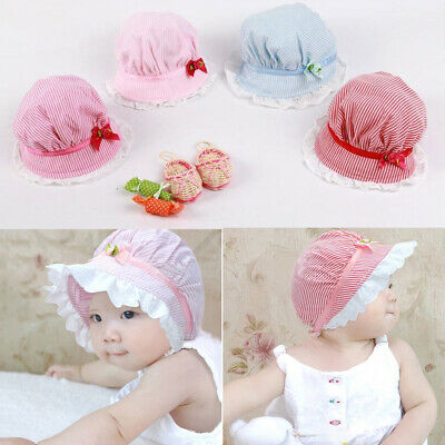 Baby Girls Summer Sun Hat Bowknot Princess Bonnet Hat Bucket Cap 3-24 Month UK