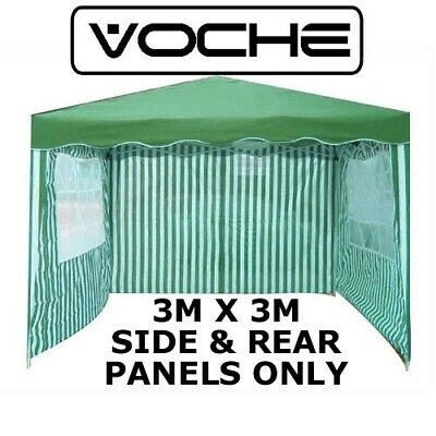 VOCHE 3PC GREEN WHITE 3m x 3m GARDEN GAZEBO REPLACEMENT SIDE WALLS PANELS SET