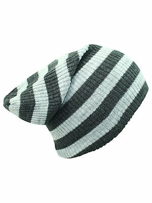2346fa1b68a MEN S STRIPED RIBBED Slouchy Knit Beanie Winter Hat Warm Work Cap ...