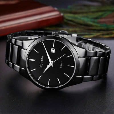 CURREN Men Fashion Military Stainless Steel Analog Date Sport Quartz Wrist Watch