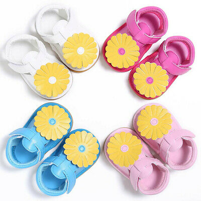 Newborn Baby Kids Girls Flowers Design Toddler Soft Sole Shoes Sandals Slippers