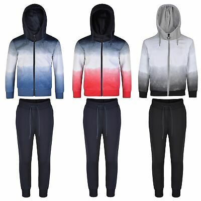Kids Ombre Tracksuits Girls Boys Hooded Top Jacket Pants Bottoms Trousers 3-16 Y