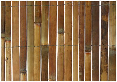 Bamboo Slat Screening Fence Roll Slatted Garden Privacy Penal Outdoor 3.8x 0.9 m