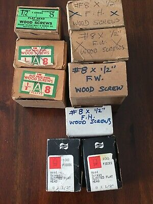 "Large Lot Assorted # 8 X 1/2"" Flat Head SLOTTED And Phillips  Wood Screws"