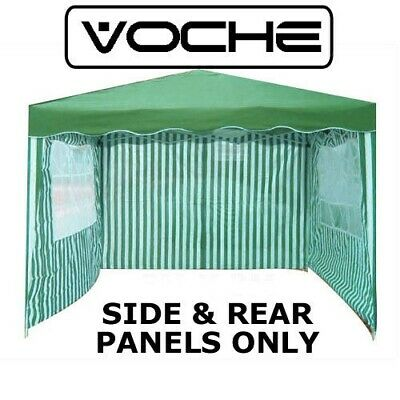VOCHE 3PC GREEN WHITE 2.5 x 2.5m GARDEN GAZEBO REPLACEMENT SIDE WALLS PANELS SET