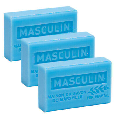 3 x 125g - Masculin - French Soaps - with Shea Butter - Savon de Marseille