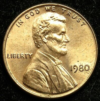 1980 Uncirculated Lincoln Memorial Cent Penny BU (B05)