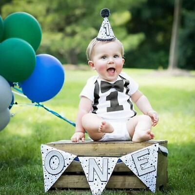 Infant Kids Toddler Baby Boy 1st Birthday Romper Jumpsuit Casual Overall Clothes