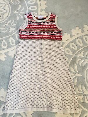 a8333bdeb1 Hanna Andersson Nordic Fair Isle Sweater Dress Oatmeal Red 150 12 14 EUC
