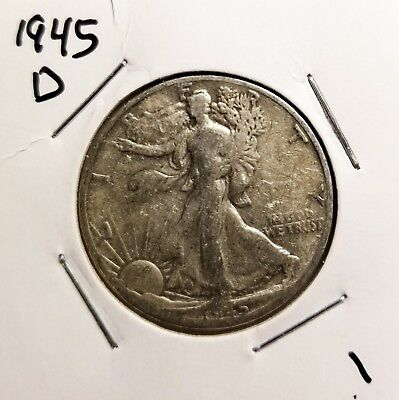 1945 D 50 cent Liberty Walker Half Dollar better than average condition LOOK