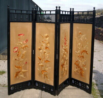 Anglo/japanese Aesthetic Movement Ebonised 4 Fold Screen