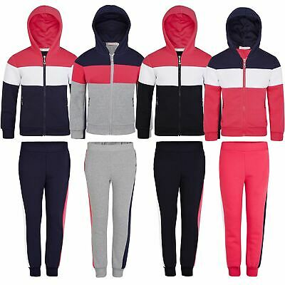 Kids Playful Tracksuit Outfit Girls 2Piece Inner Fleece Hoodie Trousers 3-14 Y