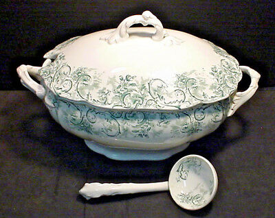 John Maddock & Sons ROCOCO Tureen w/ Lid and Ladle Green Very Nice