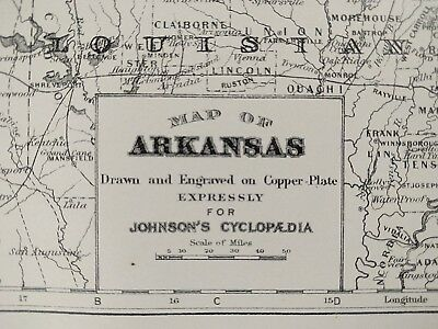 "Vintage 1896 ARKANSAS Map 7x10"" Old Antique Original LITTLE ROCK BATESVILLE MAPZ"
