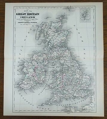 """Vintage 1874 GREAT BRITAIN IRELAND Map 10""""x7"""" Old Antique LONDON WATERFORD MAPZ"""