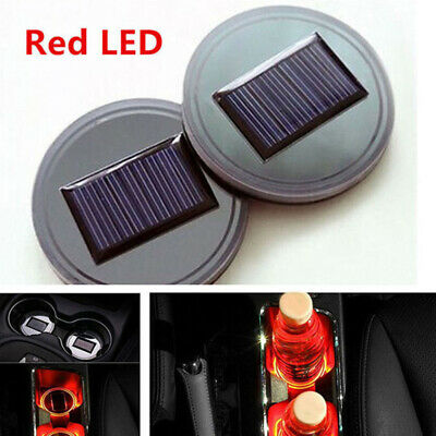 1pc LED Universal Car Cup Holder Pad Mat Auto Interior Atmosphere Light Red