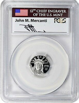 POP 13 1998-W $10 1/10 OZ Platinum American Eagle PCGS PR69 DCAM Mercanti Signed