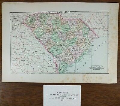 "Vintage 1896 SOUTH CAROLINA Map 10""x7"" ~ Old Antique Original CHARLESTON MAPZ"