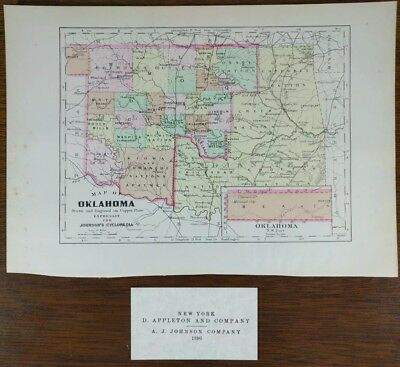 "Vintage 1896 OKLAHOMA Map 10""x7"" Old Antique Original TECUMSEH PAWNEE ALVA MAPZ"
