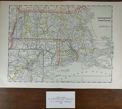 "Vintage 1896 MASSACHUSETTS RHODE ISLAND Map 15""x10"" Old Antique Original MAPZ"