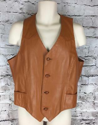 Mens Vintage Pioneer Wear Leather Vest Western British Tan 40L M