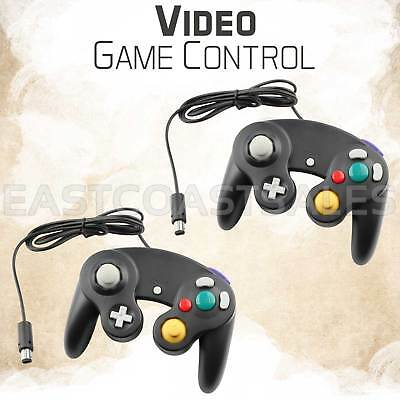 2x Black Video Game Pad Controller Remote For Nintendo Wii GameCube System
