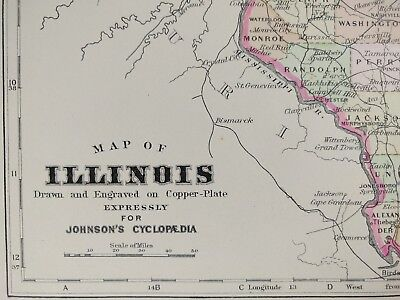 "Vintage 1896 ILLINOIS Map 10""x13"" Old Antique Original CHICAGO CICERO MAPZ"