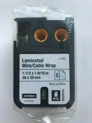 Dymo XTL Laminated Wire//Cable Wrap 13//16 x 4 21 mm x 102 mm Black on White