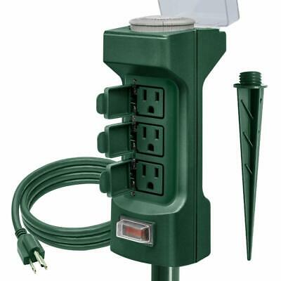 Outdoor Power Stake Timer for Garden 6 Outlets Mechanical Timer ETL Certified
