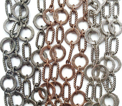 Roped Oval Flat Circle Chain Necklace Antique Copper Gun Metal Plated Q3 Feet