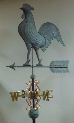 Beautiful copper large rooster antiqued weathervane, COMPLETE as shown.