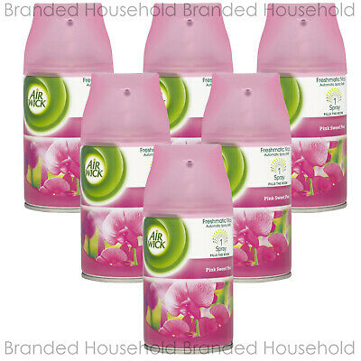6 x AIR WICK FRESHMATIC AUTOMATIC REFILL AIR FRESHENER PINK SWEET PEA 250ML