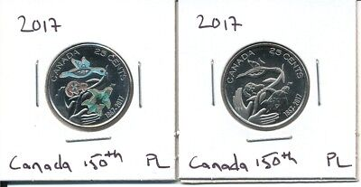 Pair of Both Plain & Coloured Canada 2017 25 Cent Coins