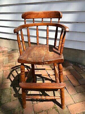 Antique Solid Wood Child High Chair, Primitive Rustic Farmhouse Decor