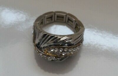 Silver tone Metal Antique looks Large Stretch Ring with crystals Z01-21/22