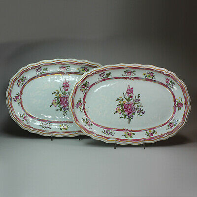 Antique Pair of Chinese famille rose platters, Qianlong (1736-95)