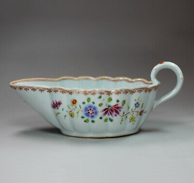 Antique Chinese famille rose sauceboat, Qianlong (1736-95)