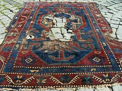 Wonderful Antique Awesome Caucasian Collector's Piece Fragment  Shabby Chic Rug