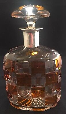 Vintage 830S Silver & Crystal Decanter - Amber to Clear Cross Hatch - Sweden