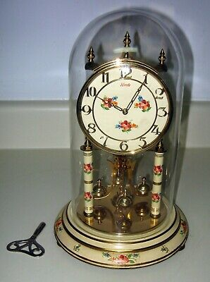 KUNDO Vintage Anniversary glass dome mantle clock. Made in Germany. Running.