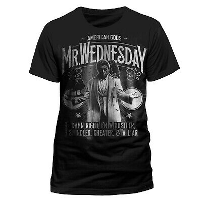 Official American Gods T-Shirt Black NEW Shadow Moon Mr Wednesday S M XL